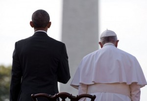 President Obama and Pope Francis face the crowd on the White House's South Lawn. Photo by Stephen Crowley